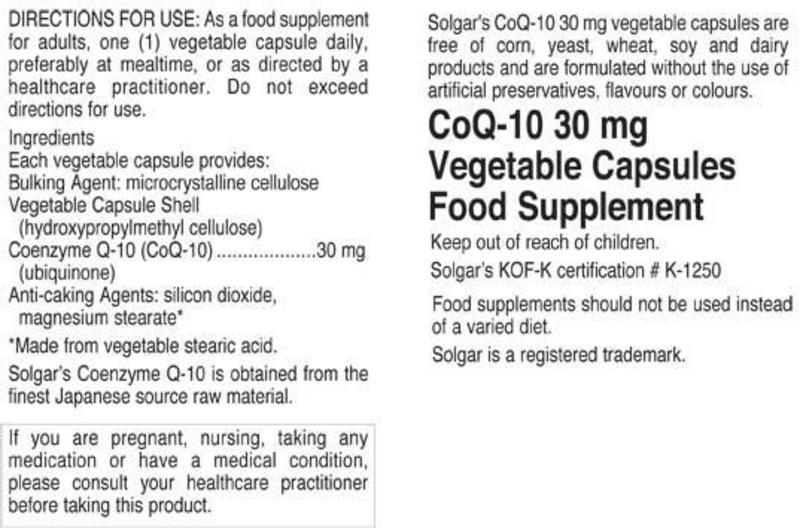 Coenzyme Q10 30mg dairy free, Gluten Free, Vegan image 2