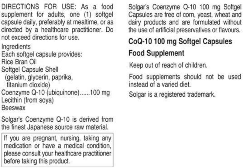 Coenzyme Q10 100mg Gluten Free image 2