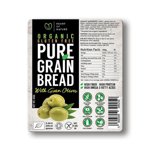 Pure Grain Green Olive Bread sugar free, Vegan, yeast free, wheat free, ORGANIC