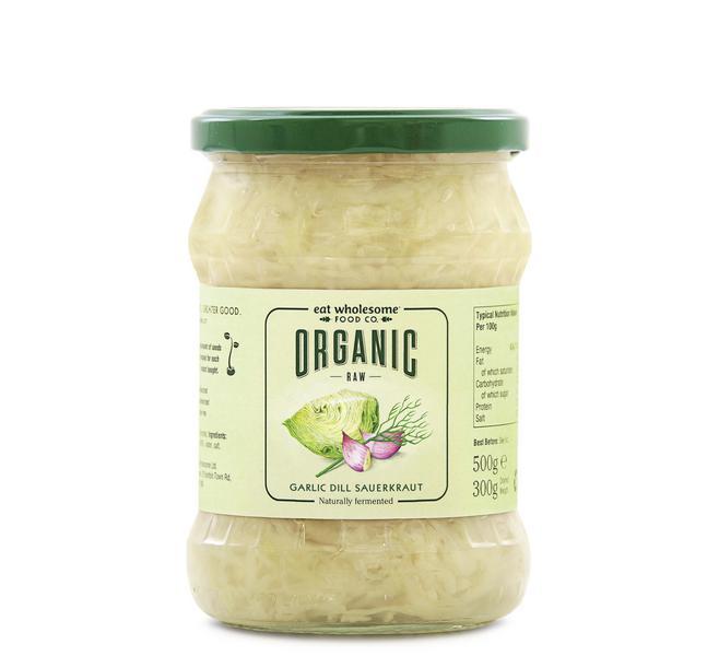 Raw Dill & Garlic Sauerkraut Vegan, ORGANIC