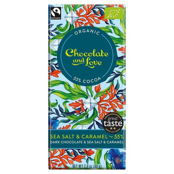 Sea Salt & Caramel 55% Dark Chocolate FairTrade, ORGANIC