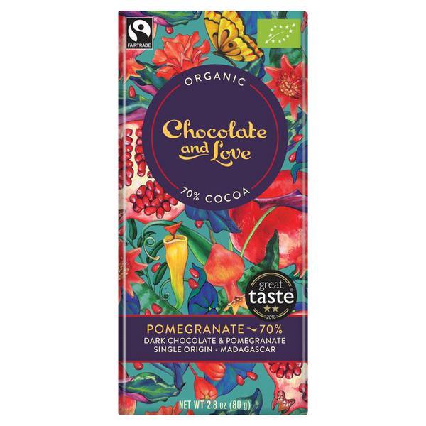 Pomegranate Dark Chocolate 70% FairTrade, ORGANIC