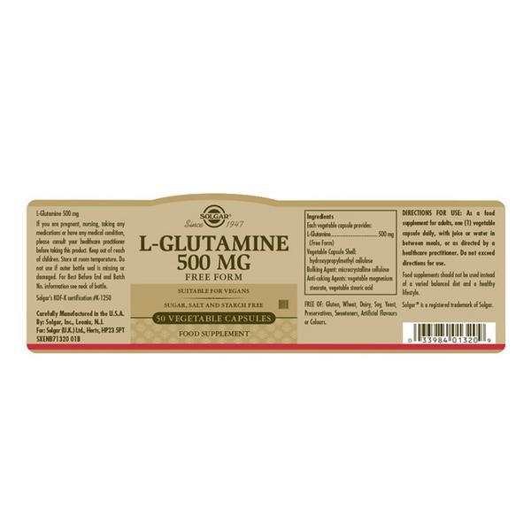L-Glutamine Amino Acid 500mg dairy free, Gluten Free, Vegan image 2