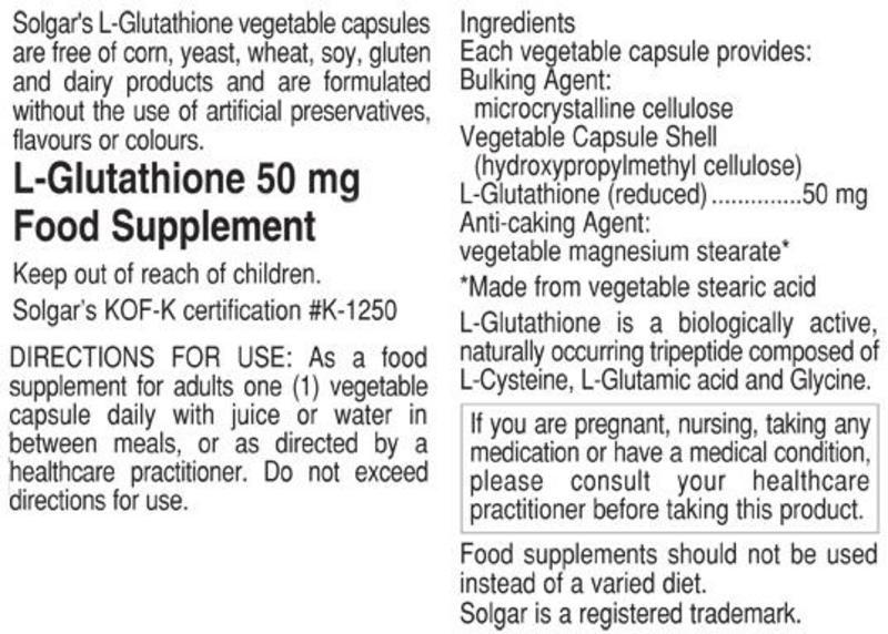 L-Glutathione Amino Acid 50mg dairy free, Gluten Free, Vegan image 2