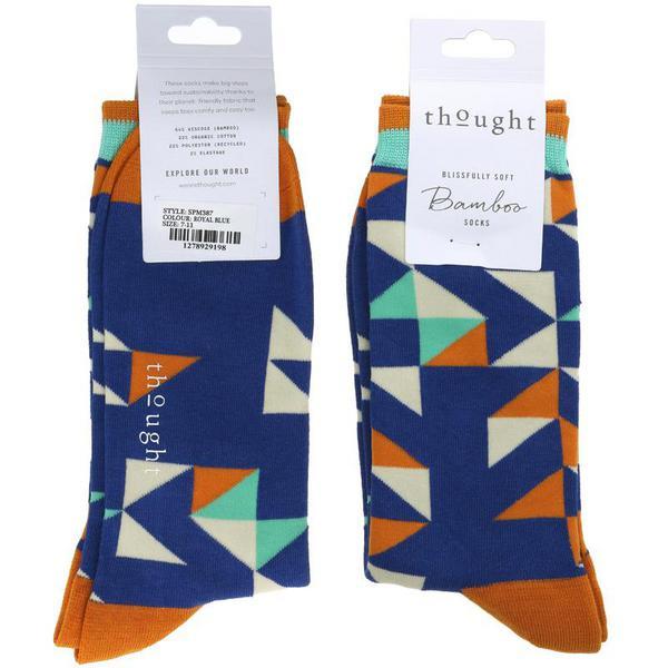 Royal Blue Triangle Socks Size 7-11 Vegan