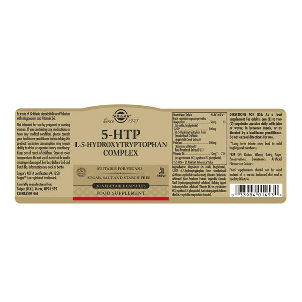 5-HTP L-5-Hydroxytryptophan Complex 100mg Vegan image 2