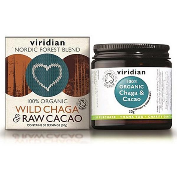 Wild Chaga & Raw Cacao Powder Vegan, ORGANIC