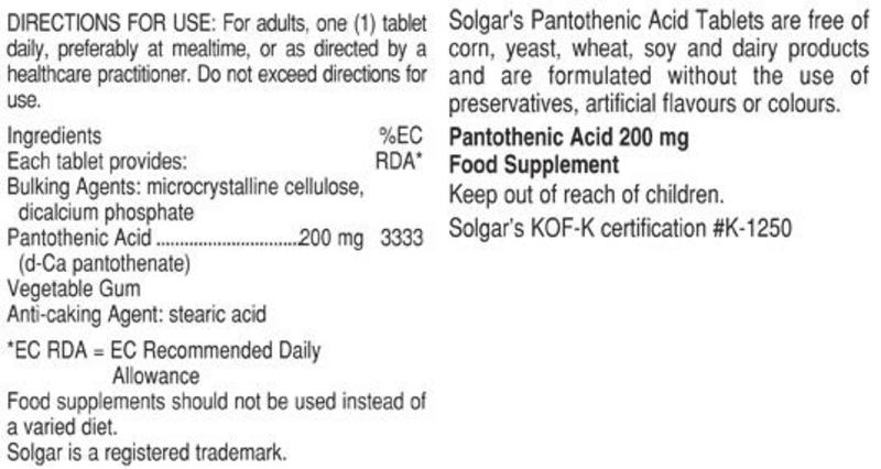 Pantothenic Acid Vitamin B 200mg Vegan image 2