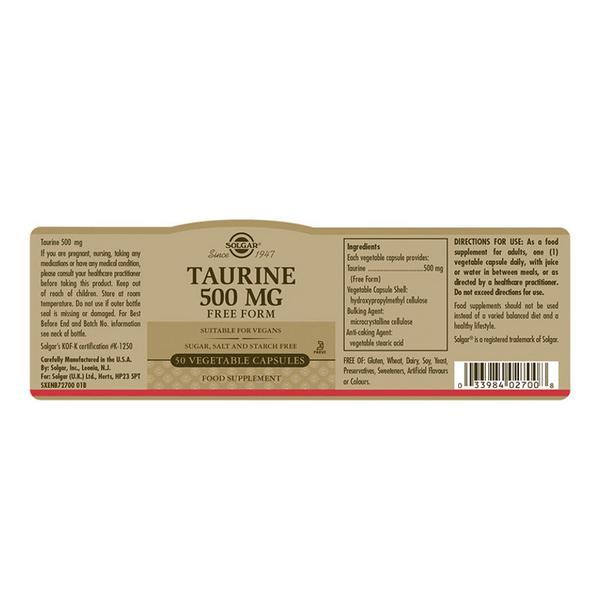 Taurine Amino Acid 500mg dairy free, Vegan image 2