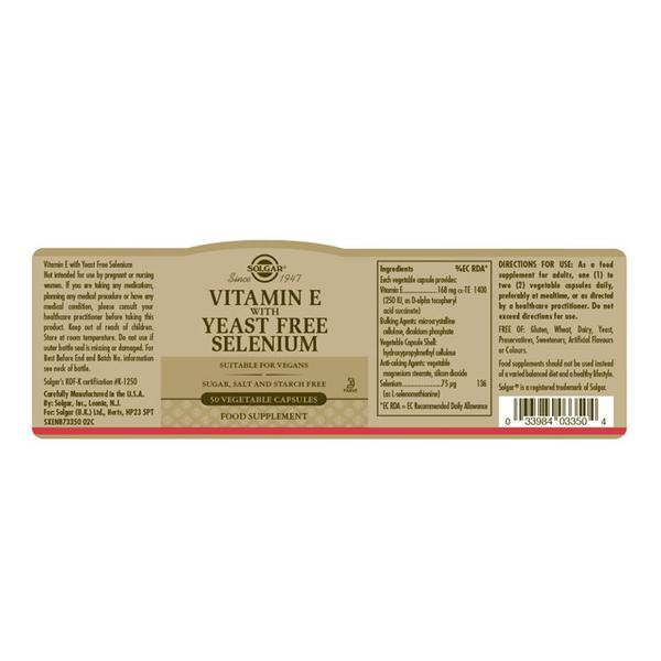 Vitamin E Selenium Vegan, yeast free image 2