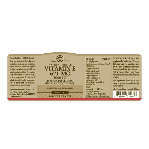 Vitamin E 1000iu 671mg  image 2