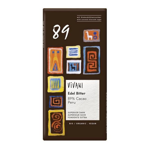 89% Dark Chocolate Bar Vegan, ORGANIC