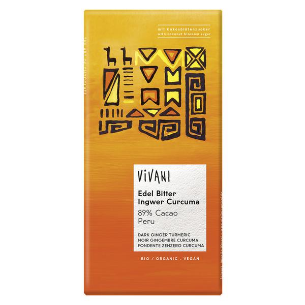 89% Ginger & Turmeric Dark Chocolate Bar Vegan, ORGANIC