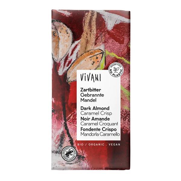 Almond & Caramel Dark Chocolate Bar Vegan, ORGANIC