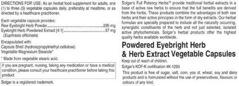 Eyebright Full Potency Herbal Product  image 2