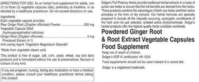 Ginger Root Full Potency Herbal Product Vegan image 2