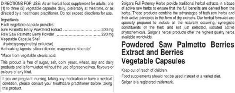 Saw Palmetto Full Potency Herbal Product Vegan image 2