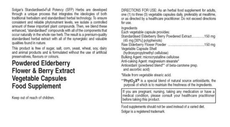 Elderberry Standardised Full Potency Extract Herbal Product Vegan image 2