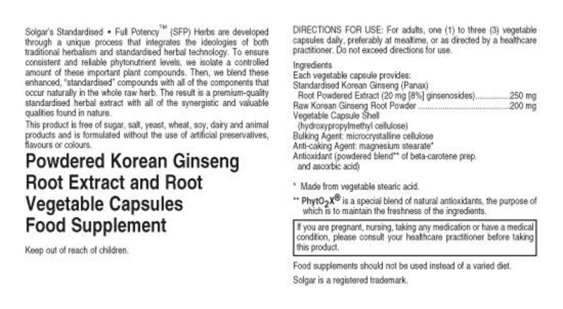 Korean Ginseng Standardised Full Potency Herbal Product  image 2