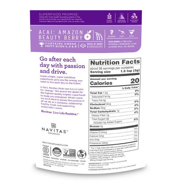 Acai Powder Gluten Free, Vegan, ORGANIC image 2