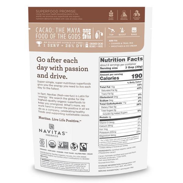 Cacao Nibs Gluten Free, Vegan, FairTrade, ORGANIC image 2
