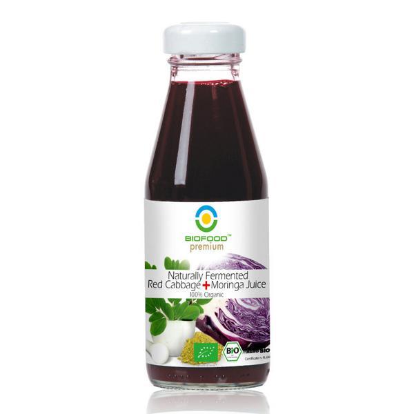 Fermented Red Cabbage & Moringa Juice Gluten Free, Vegan, ORGANIC
