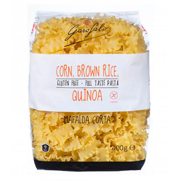 Corn,Brown Rice & Quinoa Mafalda Corta Pasta dairy free, Gluten Free