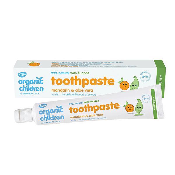 Mandarin & Aloe Vera Childrens Flouride Toothpaste Vegan, ORGANIC