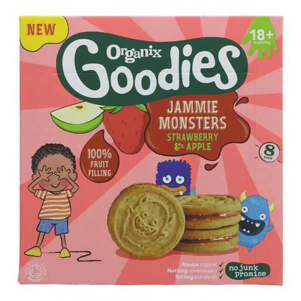 Biscuits Strawberry & Apple Jammie Monsters Goodies Vegan, ORGANIC