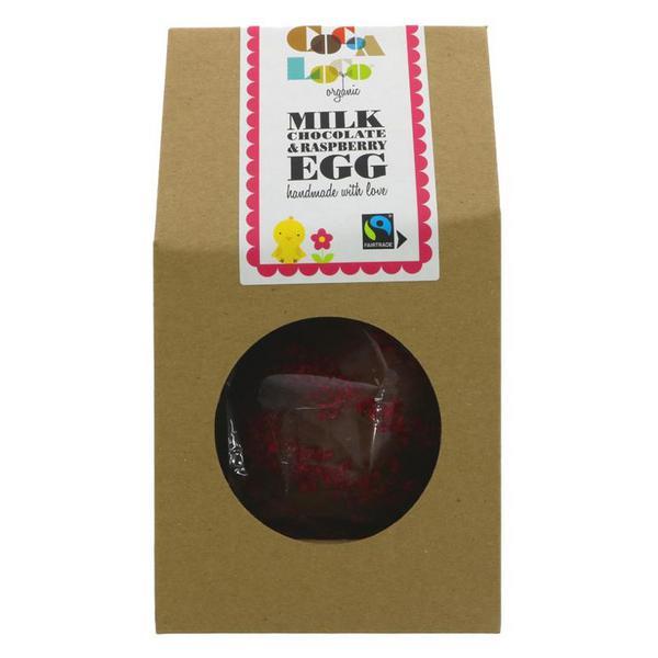 Milk Chocolate & Raspberry Easter Egg FairTrade, ORGANIC
