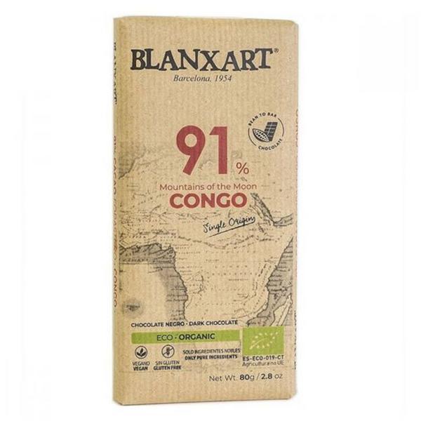 91% Dark Chocolate Congo Gluten Free, Vegan, ORGANIC