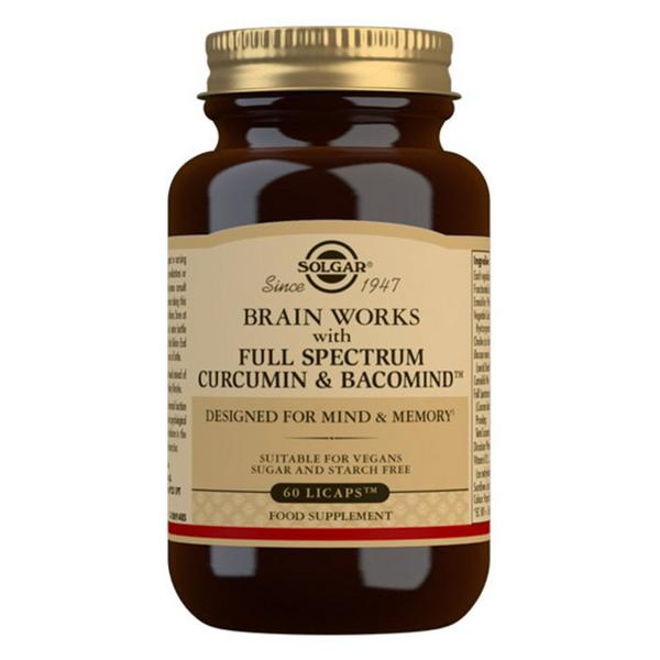 Brain Works With Full Spectrum Curcumin & BacoMind Supplement Gluten Free, sugar free, Vegan