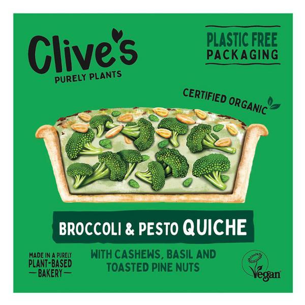 Broccoli & Green Pesto Quiche dairy free, egg free, Vegan, ORGANIC