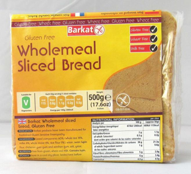 Wholemeal Sliced Bread Gluten Free