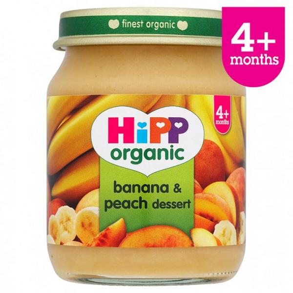 organic banana and peach dessert baby food in 125g jar from hipp. Black Bedroom Furniture Sets. Home Design Ideas