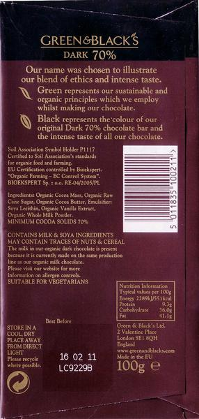 Dark Chocolate 70% FairTrade, ORGANIC image 2