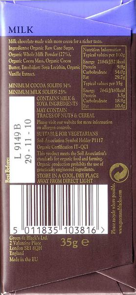 Milk Chocolate wheat free, FairTrade, ORGANIC image 2