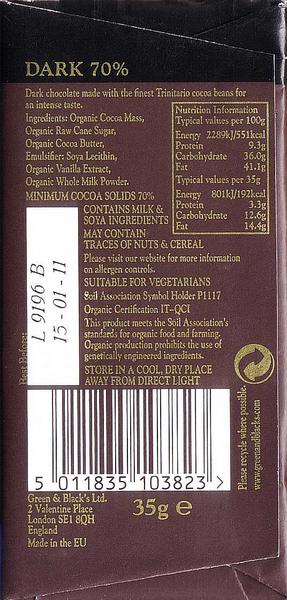 Fairtrade Organic Dark Chocolate 70 In 35g Bar From Green