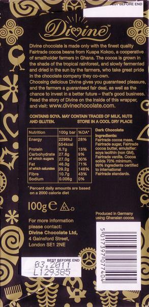 Dark Chocolate 70% Vegan, FairTrade image 2