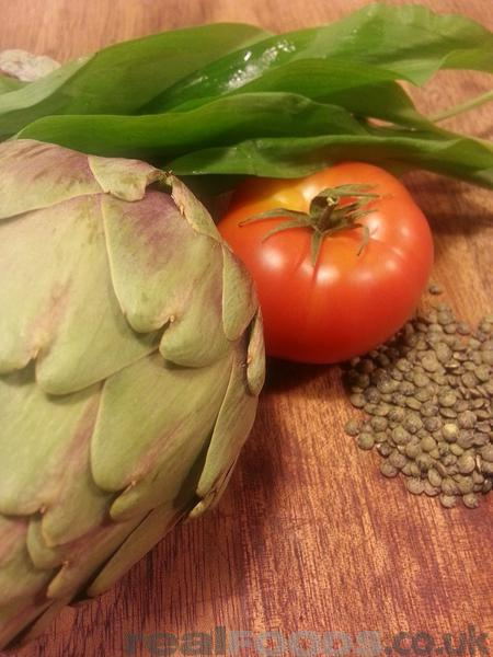 Vegan Lentils, Artichokes and Roasted Tomatoes Salad Recipe
