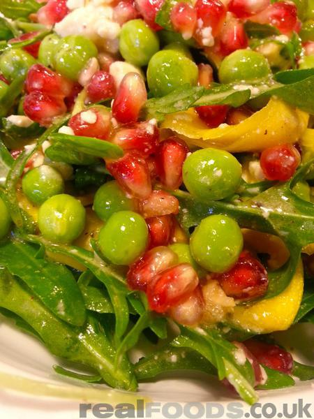 Fresh Yellow Courgette, Pea And Pomegranate Salad Recipe