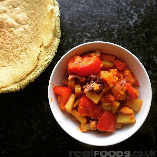 Delicious Vegan South Indian Sweet Potato And Cauliflower Curry With Quinoa Dosa Recipe