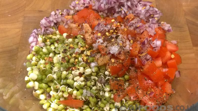 Raw vegan sprouted mung bean salad recipe from real foods raw vegan indian sprouted mung bean salad recipe sprouts truly are a powerhouse of nutrition as the nutritional content is exponentially multiplied when forumfinder Images