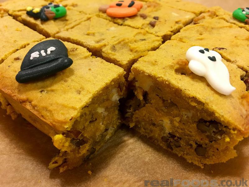 Halloween Pumpkin and White Chocolate Blondies Recipe
