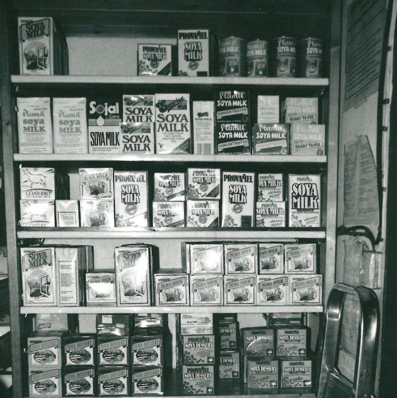 Real Foods Edinburgh 1980 shelves soya milk