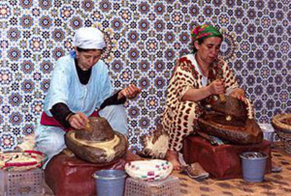 Morroccan ladies creating natural skin care products by traditional methods