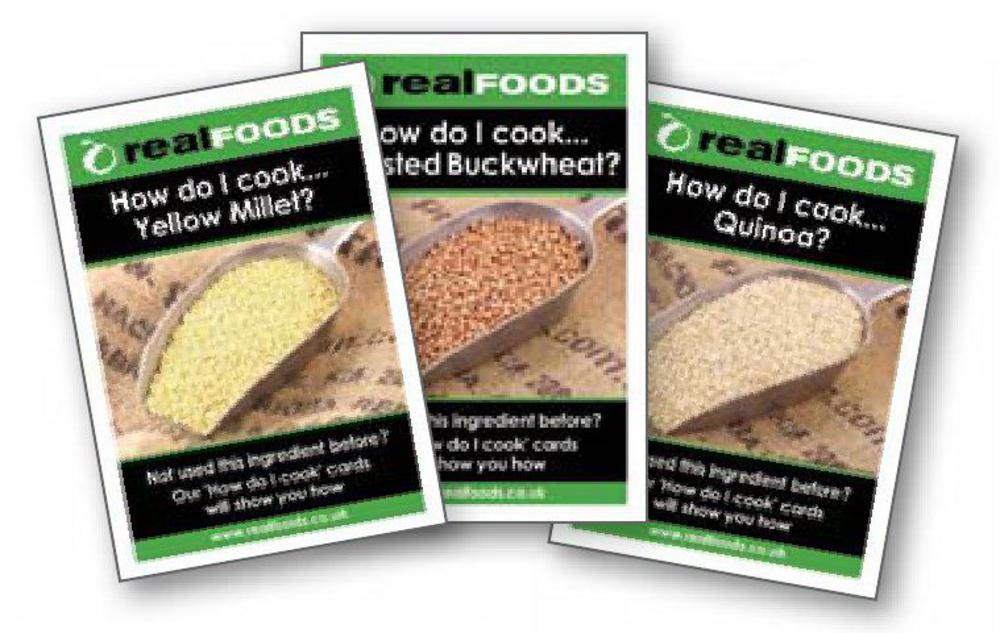 Real Foods how to cook cards available in store