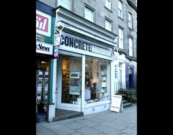 Concrete Wardrobe shop front Edinburgh