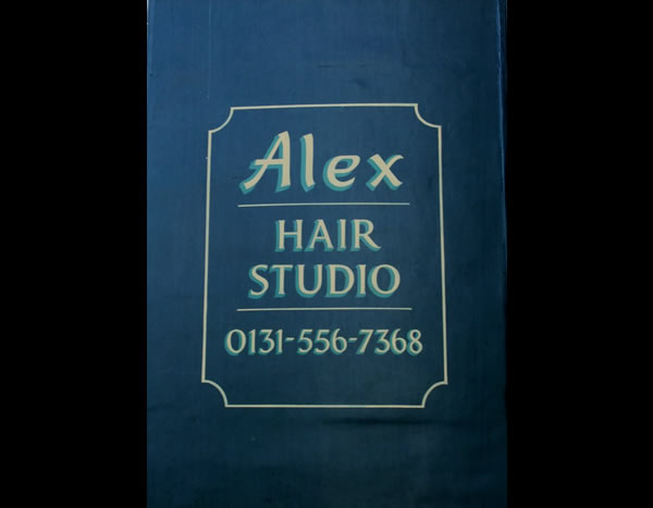 Alex Hair Studio Edinburgh sign