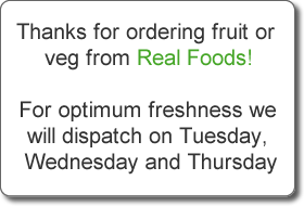 Info pop up saying fruit and vegetables are delivered Tuesday to Thursday only